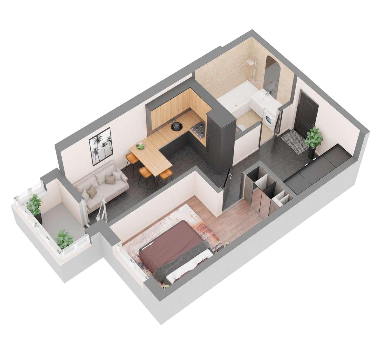 Продажа новая однокомнатная квартира планировка 1Б от застройщика в ЖК 4U улица Наумова Киев. Агентство недвижимости