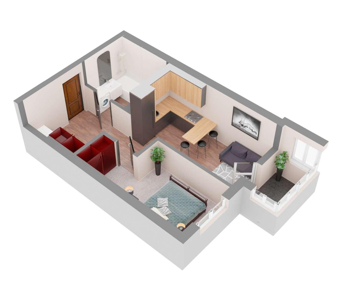 Продажа новая однокомнатная квартира планировка 1К от застройщика в ЖК 4U улица Наумова Киев. Агентство недвижимости