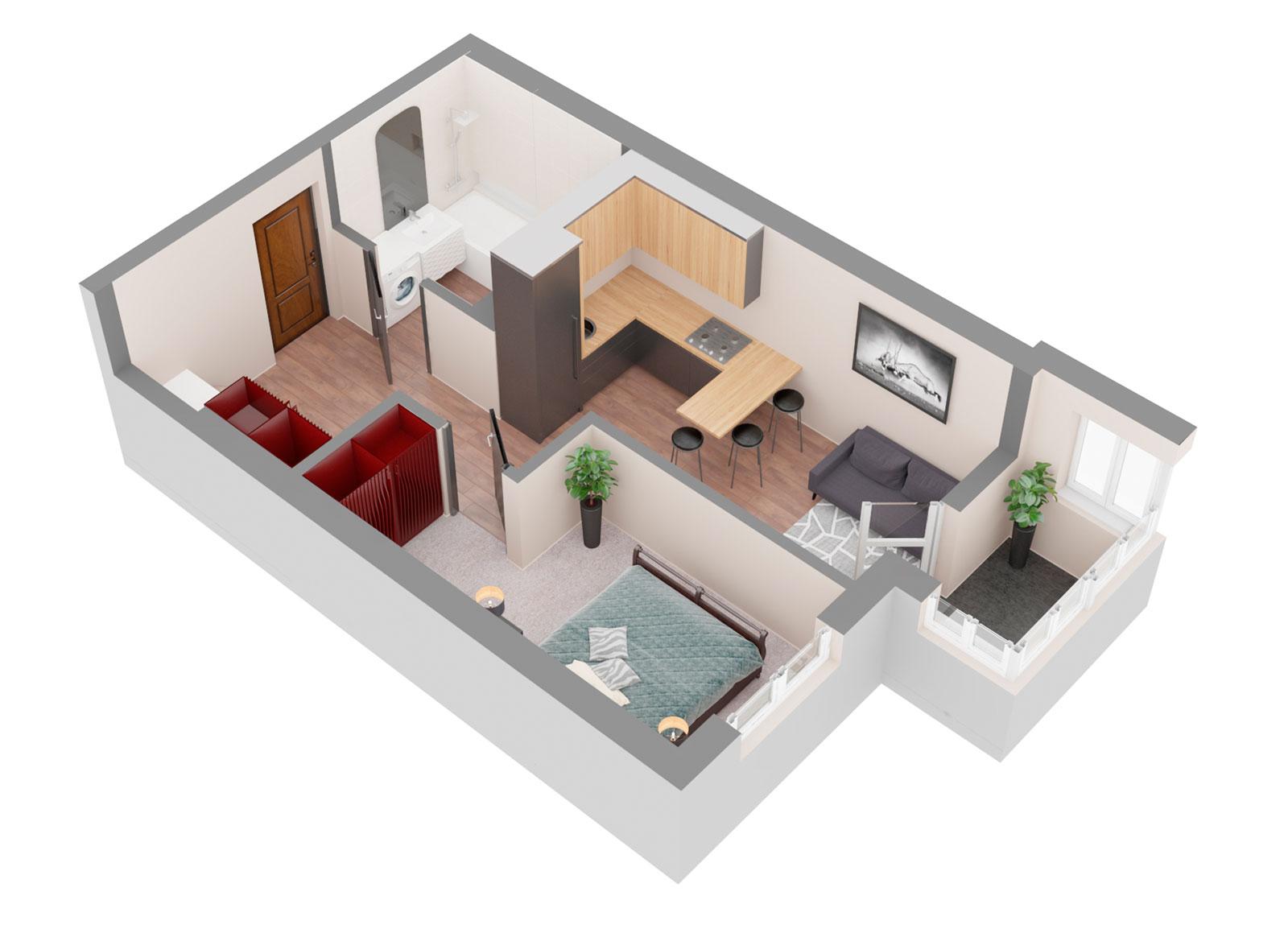Продажа новая однокомнатная квартира планировка 1Л от застройщика в ЖК 4U улица Наумова Киев. Агентство недвижимости