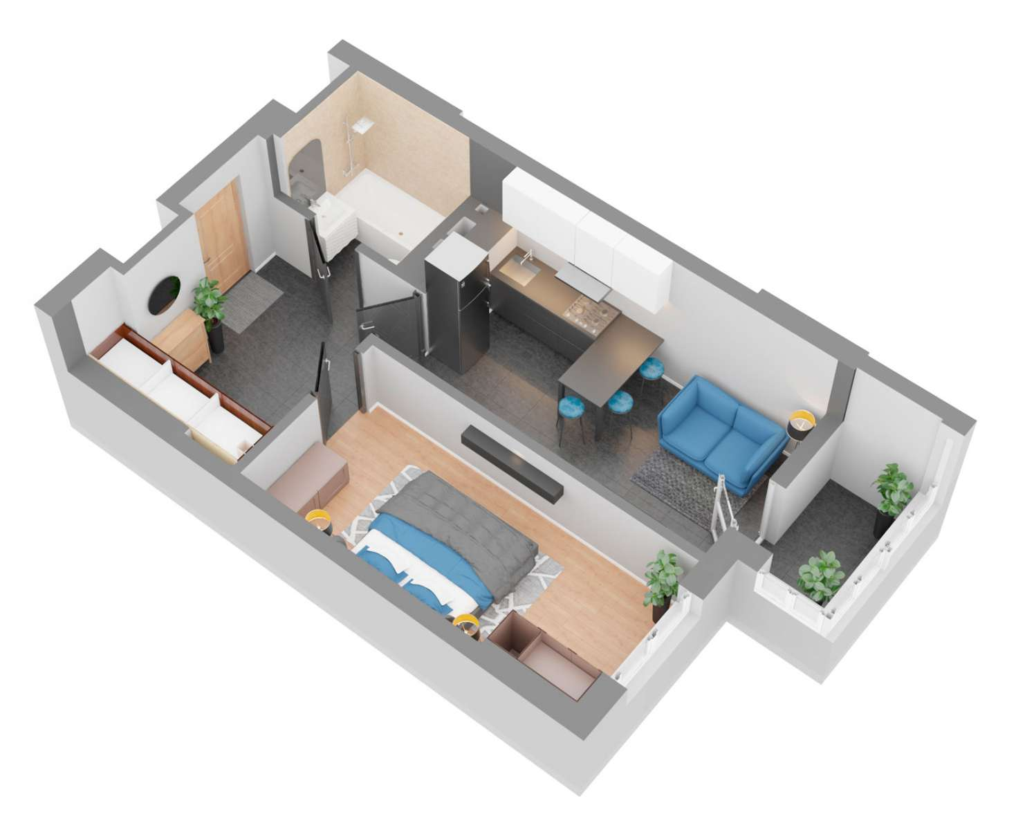 Продажа новая однокомнатная квартира планировка 1З от застройщика в ЖК 4U улица Наумова Киев. Агентство недвижимости