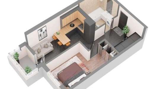 Продажа новая однокомнатная квартира планировка 1В от застройщика в ЖК 4U улица Наумова Киев. Агентство недвижимости