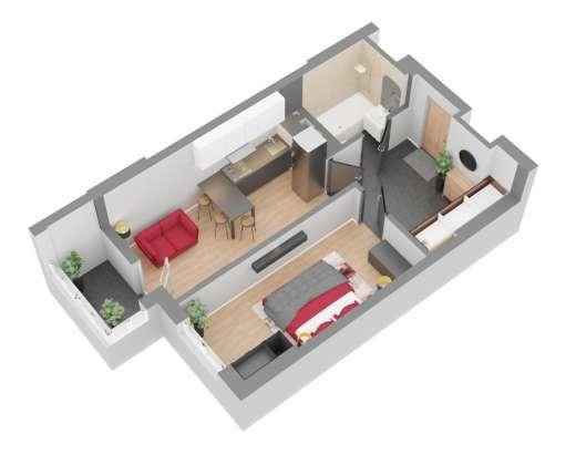 Продажа новая однокомнатная квартира планировка 1Д от застройщика в ЖК 4U улица Наумова Киев. Агентство недвижимости